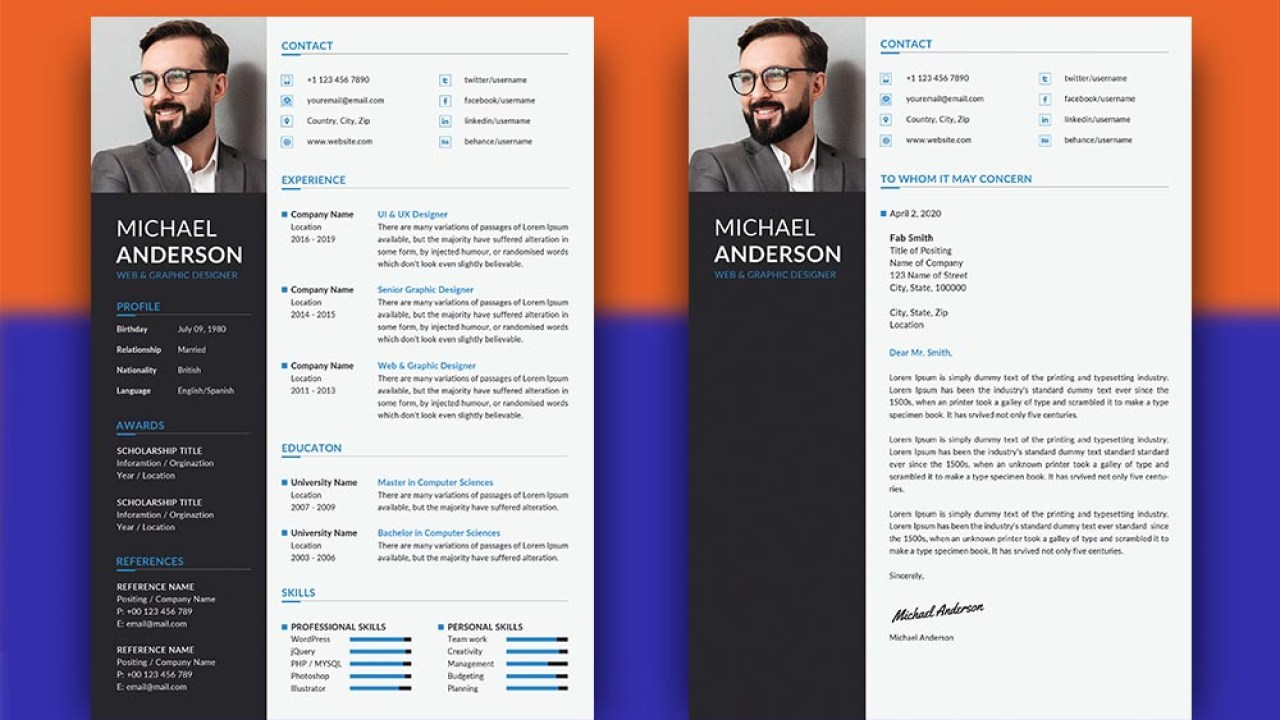 Free Professional Resume Template With Matching Cover Letter Design