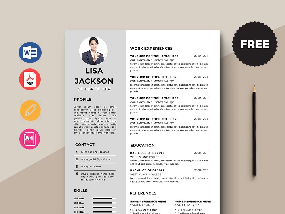 free senior teller resume template with minimal and