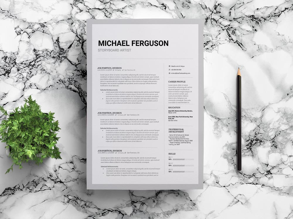 Free Storyboard Artist Resume Template with Clean and Professional Look