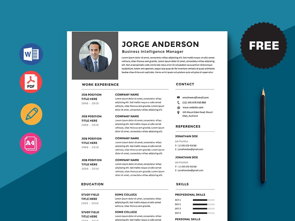 Free Business Intelligence Manager Resume Template with Simple Look