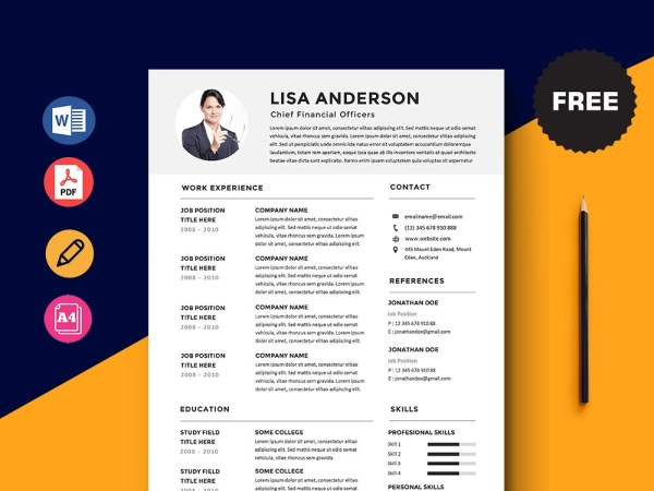 Free Chief Financial Officers (CFO) Resume Template with Simple Look