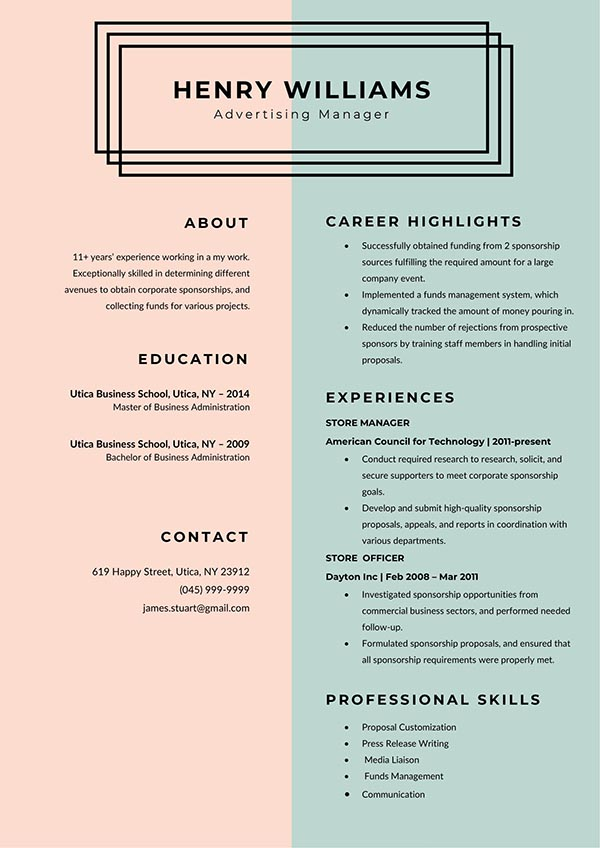 Advertising Manager CV Resume Template