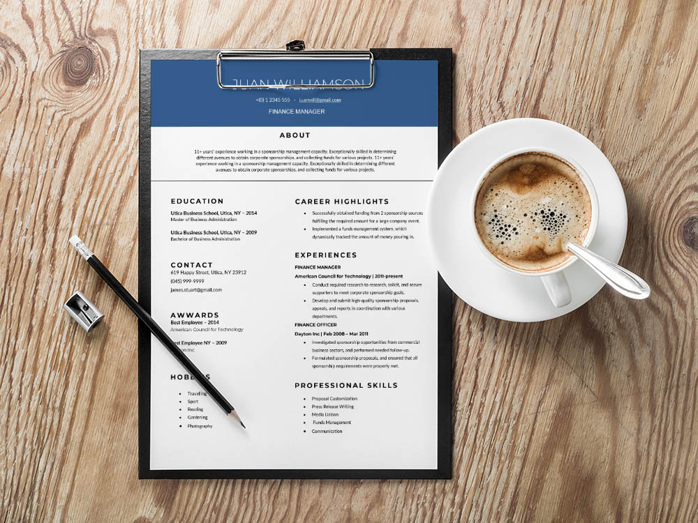 Free Finance Manager Resume Template
