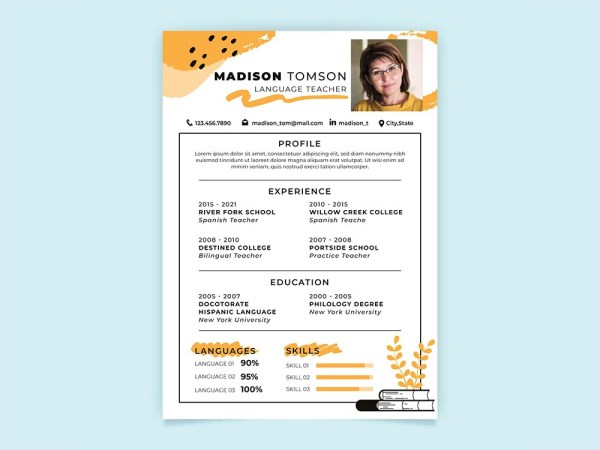 Free Language Teacher Resume Template