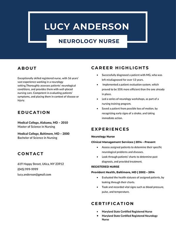 Free Neurology Nurse Resume Template with Clean Look