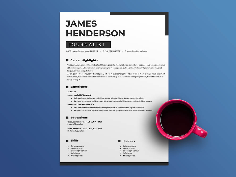 Free News Reporter Resume Template