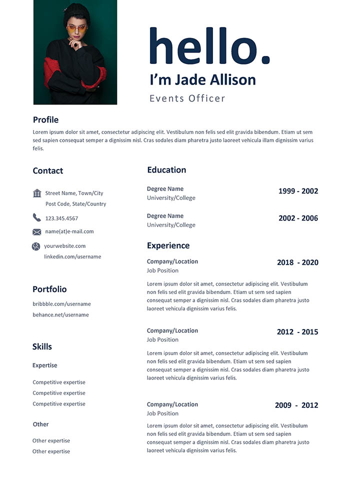 Events Officer Resume
