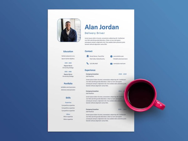 Free Delivery Driver Resume Template