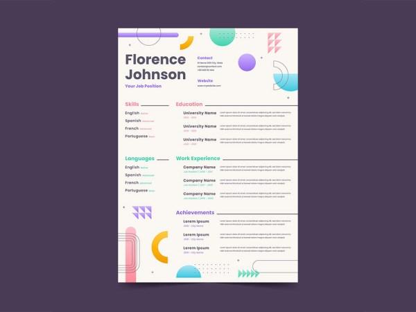 Free Flat Geometric Resume Template