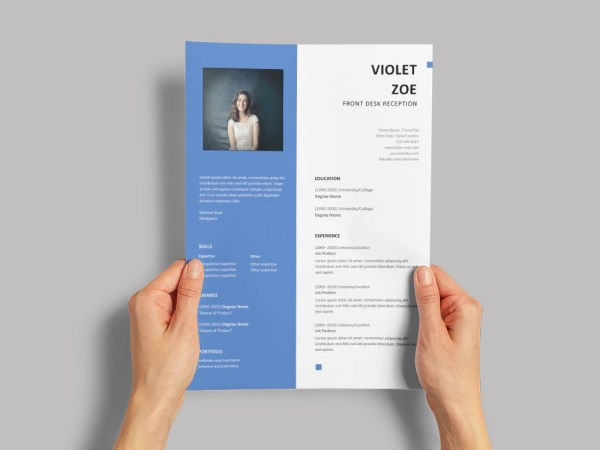 Free Front Desk Reception Resume Template