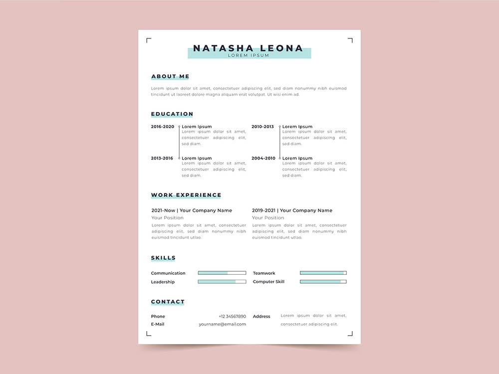 Free Minimalist Vector Resume Template