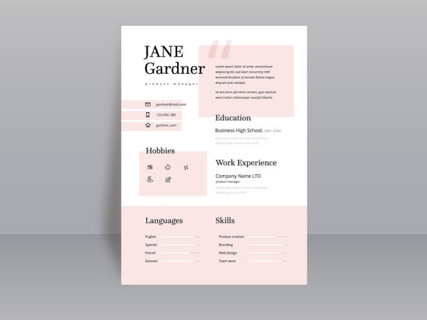 Free Product Manager Resume Template