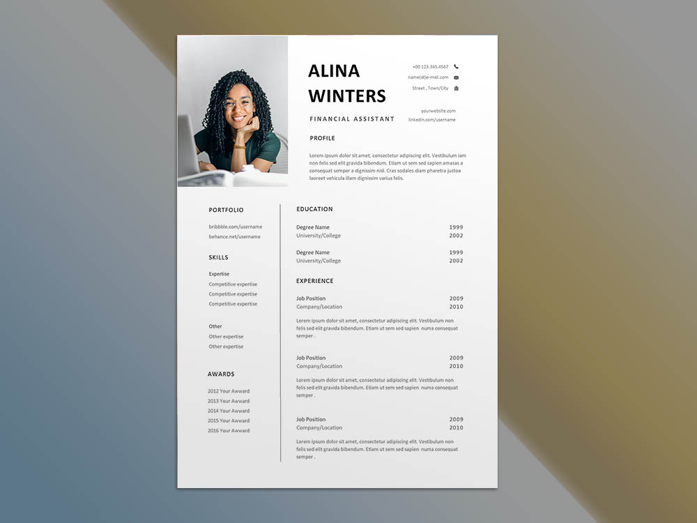 Free Financial Assistant Resume Template