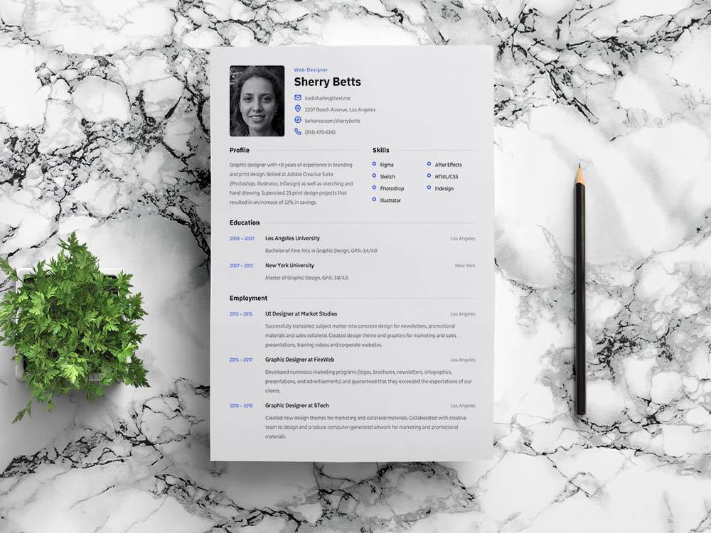 Free Editable Figma Resume Template
