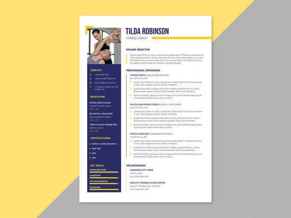 Free Fitness Coach Resume Template