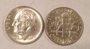 obverse and reverse of Roosevelt dime