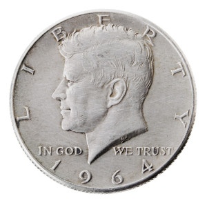 1964 Kennedy Half dollar 90% silver, the last year of mintage