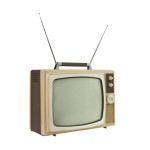 1960's television set with rabbit ears