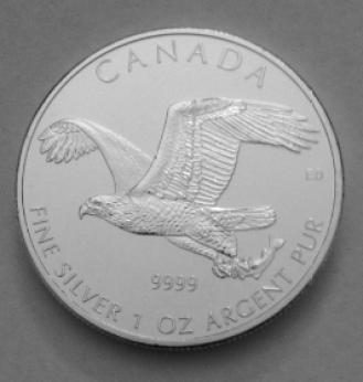 Canandian silver bald eagle coin 2014 reverse