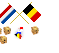 Map and flags of belgium and the Netherlands