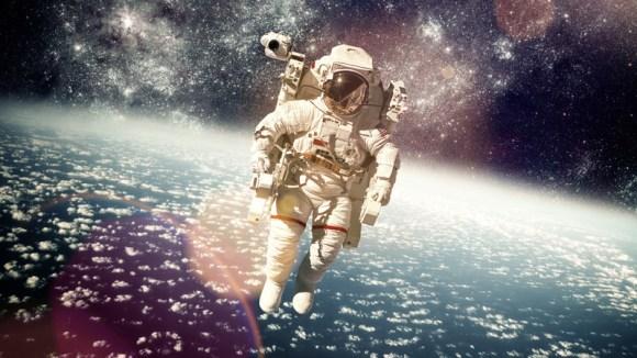 gold in astronaut helmet