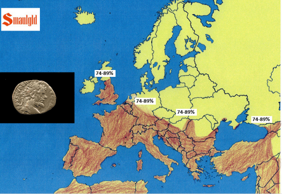 Roman empire circa 190 AD with silver content of the denarius
