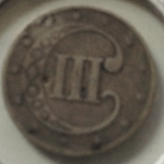 three cent silver piece back