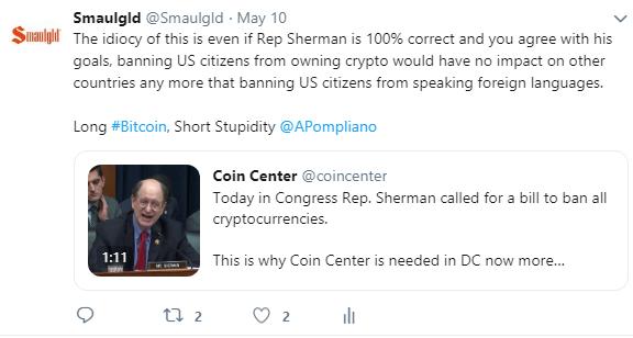 sherman ban cryptocurrencies