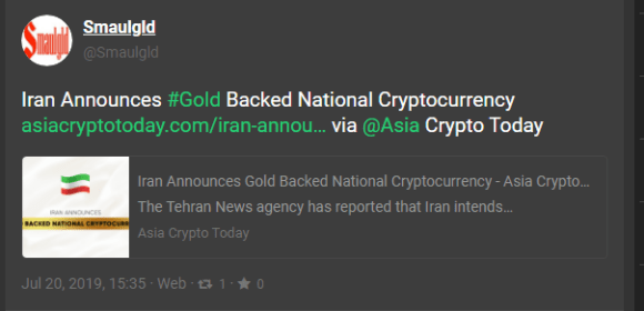 gold backed Iranian cryptocurrency