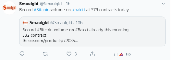 Record bitcoin volume on bakkt