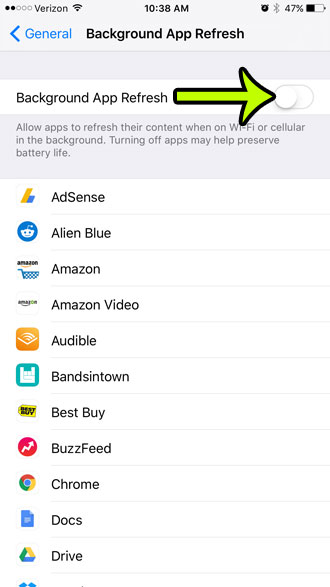 disable background app refresh on iphone 6