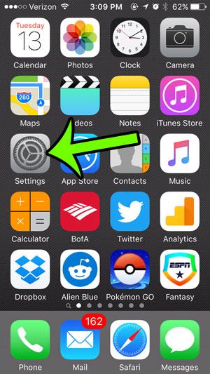 open the settings menu