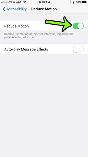 how to enable reduce motion in ios 10 on an iphone 7