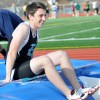 Junior Michael Falk laughs after having a bad run at pole vaulting. Photo by Annie Savage