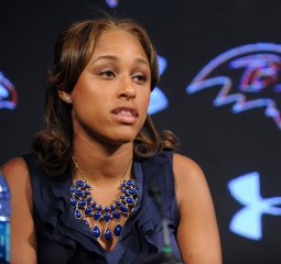 Wife Janay Rice makes statement to news media May 5, 2014.
