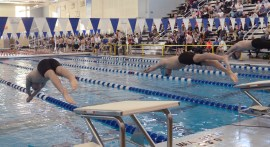 In the 200 yard Freestyle Christian and Bennett Hense compete against each other. Photo by Annie Lomshek.