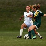Senior Elizabeth Shook defends the ball during the second half. Photo by Morgan Browning