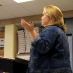 The first poem the students will be writing is a ballad. In preparation, Mrs. Fry walks her students through different poetic elements as she explains to them how to write said ballad. Photo by Leah O'Connor