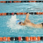 Freshman Wyatt Morse competes in the 500 m freestyle, finishing in 5th place with a time of 6:26.27. Photo by Haley Bell
