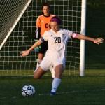 Senior Josie Clough takes a goal kick after ONW almost scores a goal. Photo by Laini Reynolds