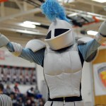 The mascot attempts to rally the student section during a timeout. Photo by Ally Griffith