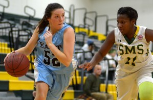 Junior Taylor Fort dribbles down the court. Photo by Luke Hoffman