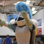 The lancer mascot attempts to pump of the crowd up. Photo by Morgan Plunkett
