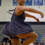 Senior Tinka McCray does a pirouette during the Lancer Dancer halftime show. Photo by Kate Nixon