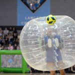 Senior Riley Kimmel participates in the bubble soccer activity. Photo by Luke Hoffman