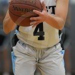 Sophomore Caroline Coleman attempts to shoot a free throw after being fouled. Photo by Reilly Moreland
