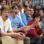 During the Knockout game, the Lancer student section cheers for their remaining representative, senior Daniel Hammond. At the end of the game, Rockhurst had the only remaining participant Photo by Luke Hoffman