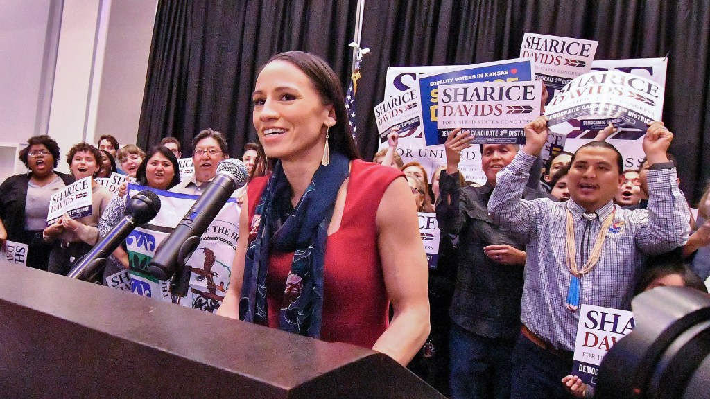 Sharice Davids gives her victory speech after winning the state's 3rd congressional district race on Tuesday, Nov. 6, 2018, at her watch party in Olathe, Kan. (John Sleezer/Kansas City Star/TNS)