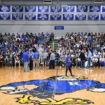 Both East and Rockhurst student sections fill in before the start of the JV game. Photo by Lucy Morantz