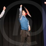 Seniors Cooper Holmes, Nathan Perkins Rock, and Jack Mcelroy dance to Apache by The Sugarhill Gang for Cooper Holmes's talent act. Photo by Aislinn Menke